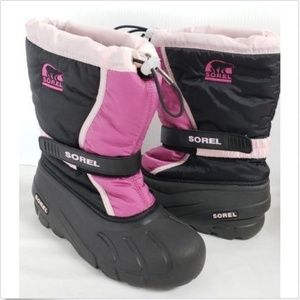 "Sorel Snow Boots ""Flurry"" 6 Pink Black Insulated"